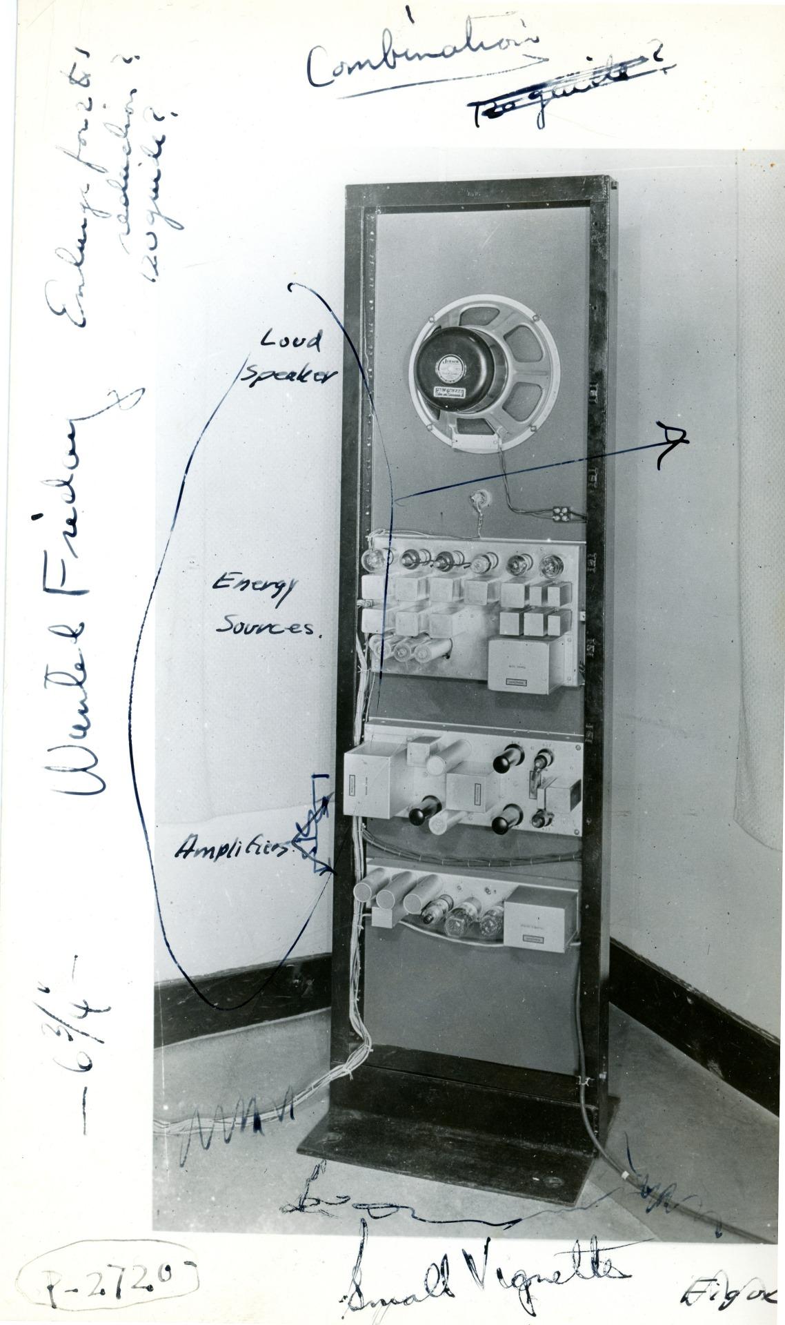 Una vista posteriore del Vocoder, con alcune spiegazioni annotate a mano sulla foto.