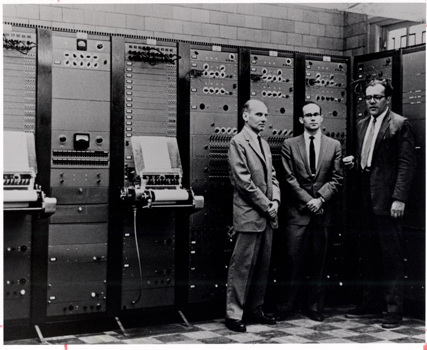 Milton Babbitt, Peter Mauzey, and Vladimir Ussachevsky with the RCA Mark II Synthesizer