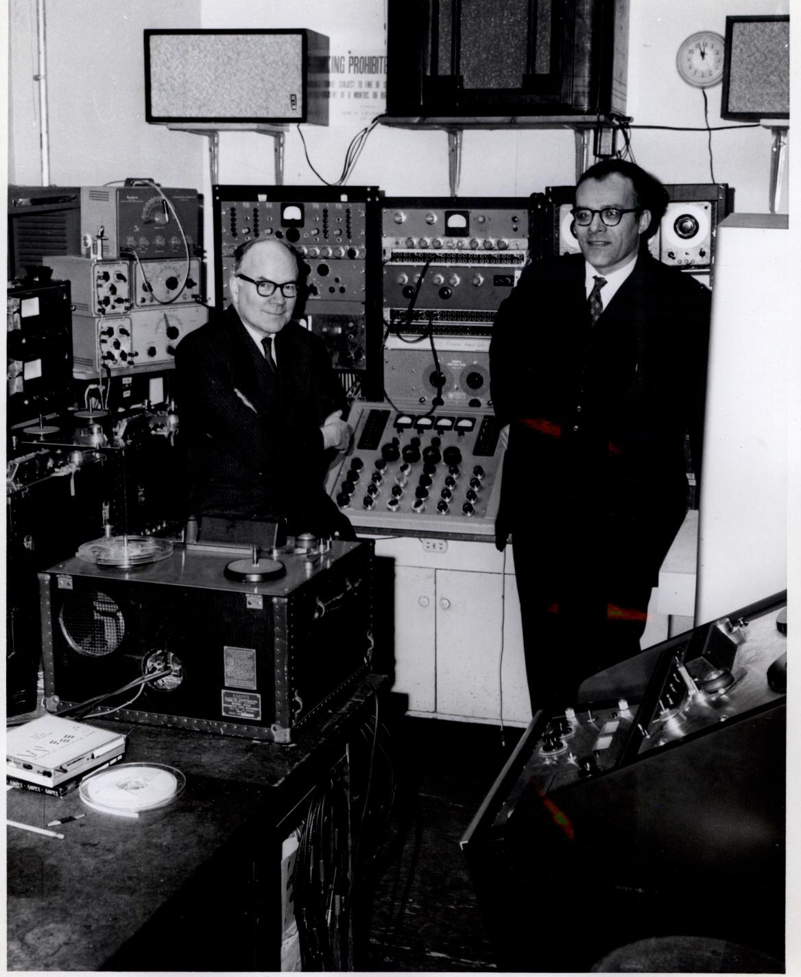 Otto Luening and Vladimir Ussachevsky in the Electronic Music Center