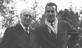 Il compositore Gian Francesco Malipiero assieme a Luigi Nono, che fu suo allievo
