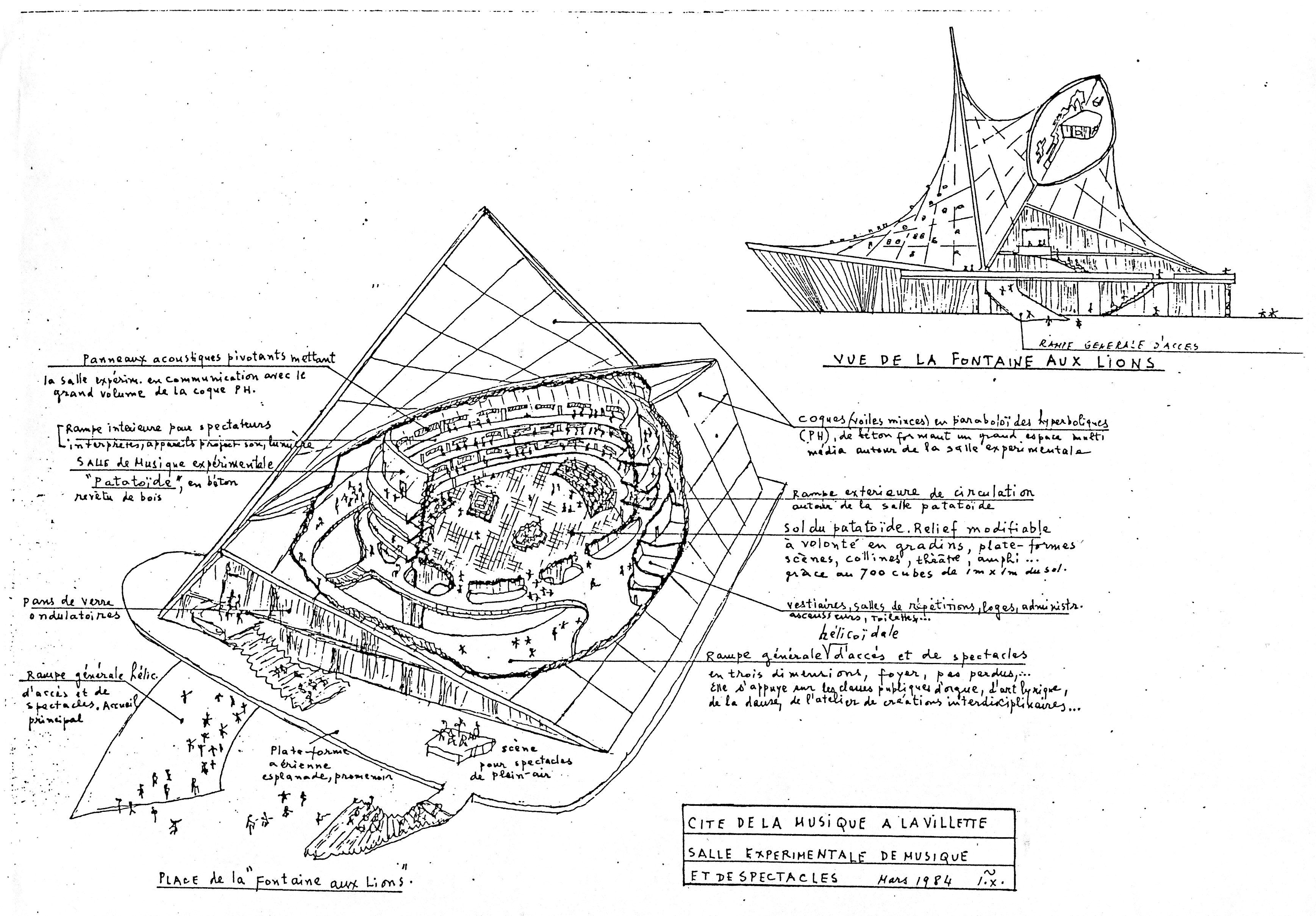 Dessin de Xenakis d'une salle expérimentale de musique pour on projet avec Jean-Louis Véret pour la Cité de la Musique de La Villette, Paris, 1984.