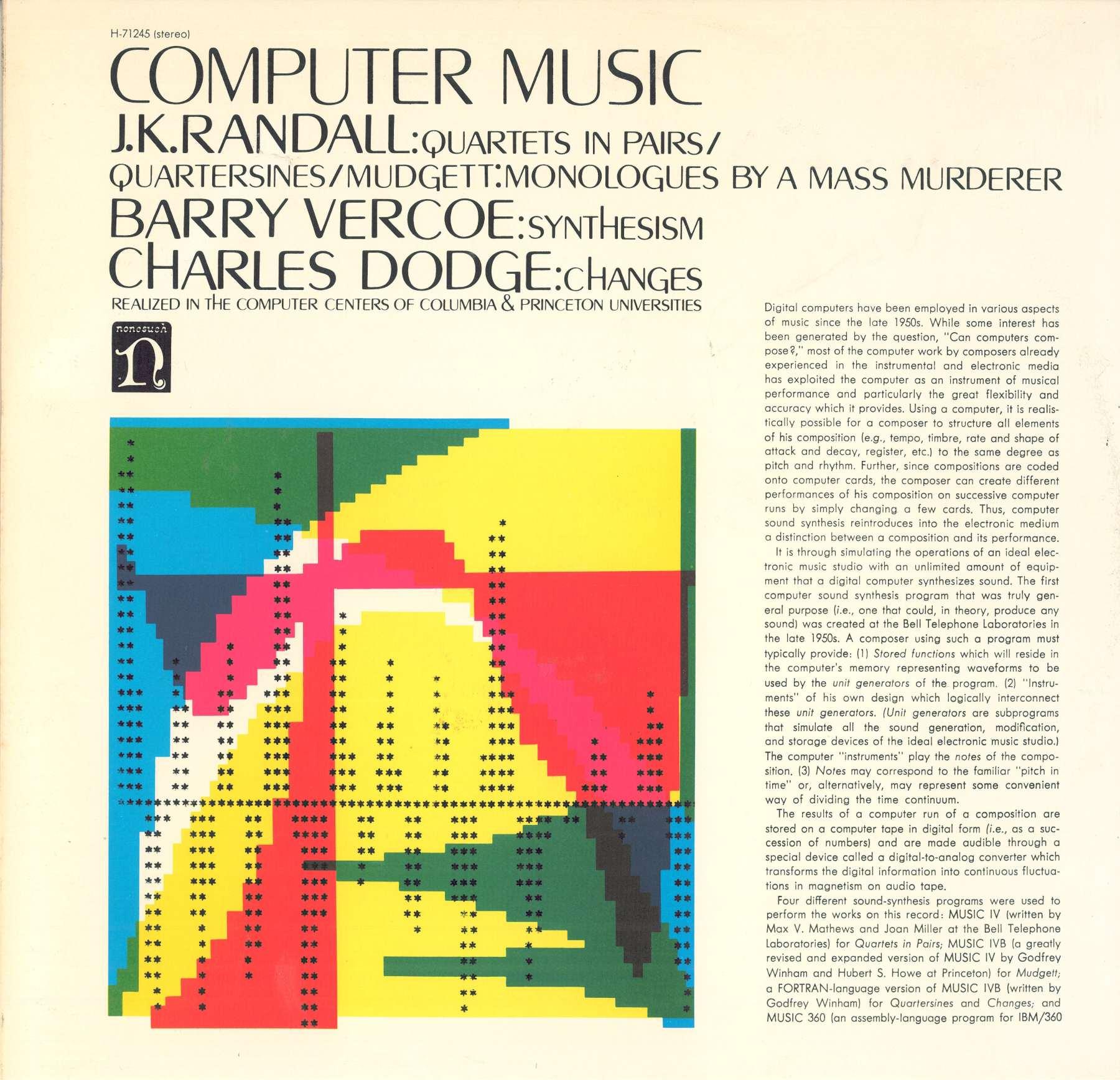 John Cage Lejaren Hiller Ben Johnston HPSCHD String Quartet No 2