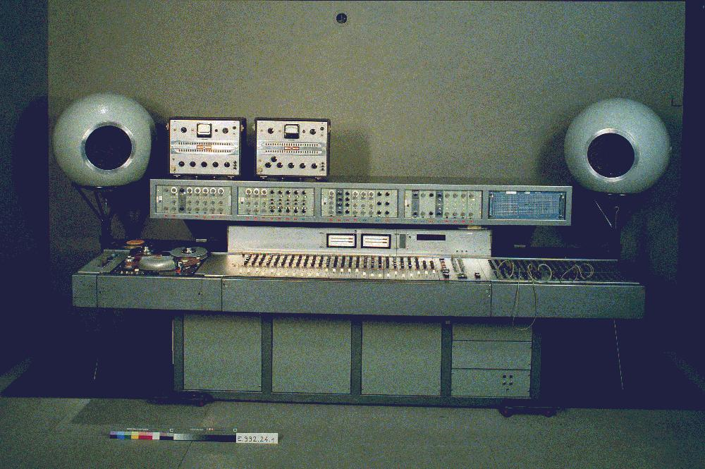Console at GRM Paris showing the EMI mixing desk and parts of the Coupigny Synthesiser c1972.