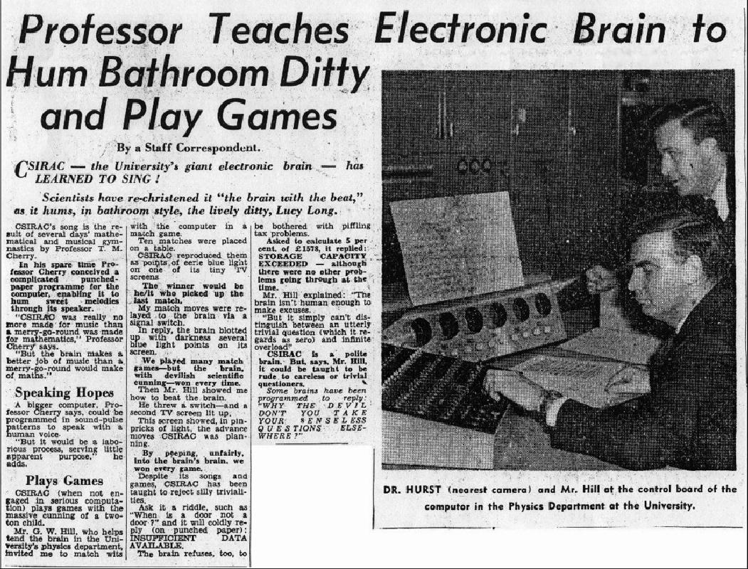 Il quotidiano australiano The Age dedica un articolo alle musiche composte con il CSIRAC, 1960.