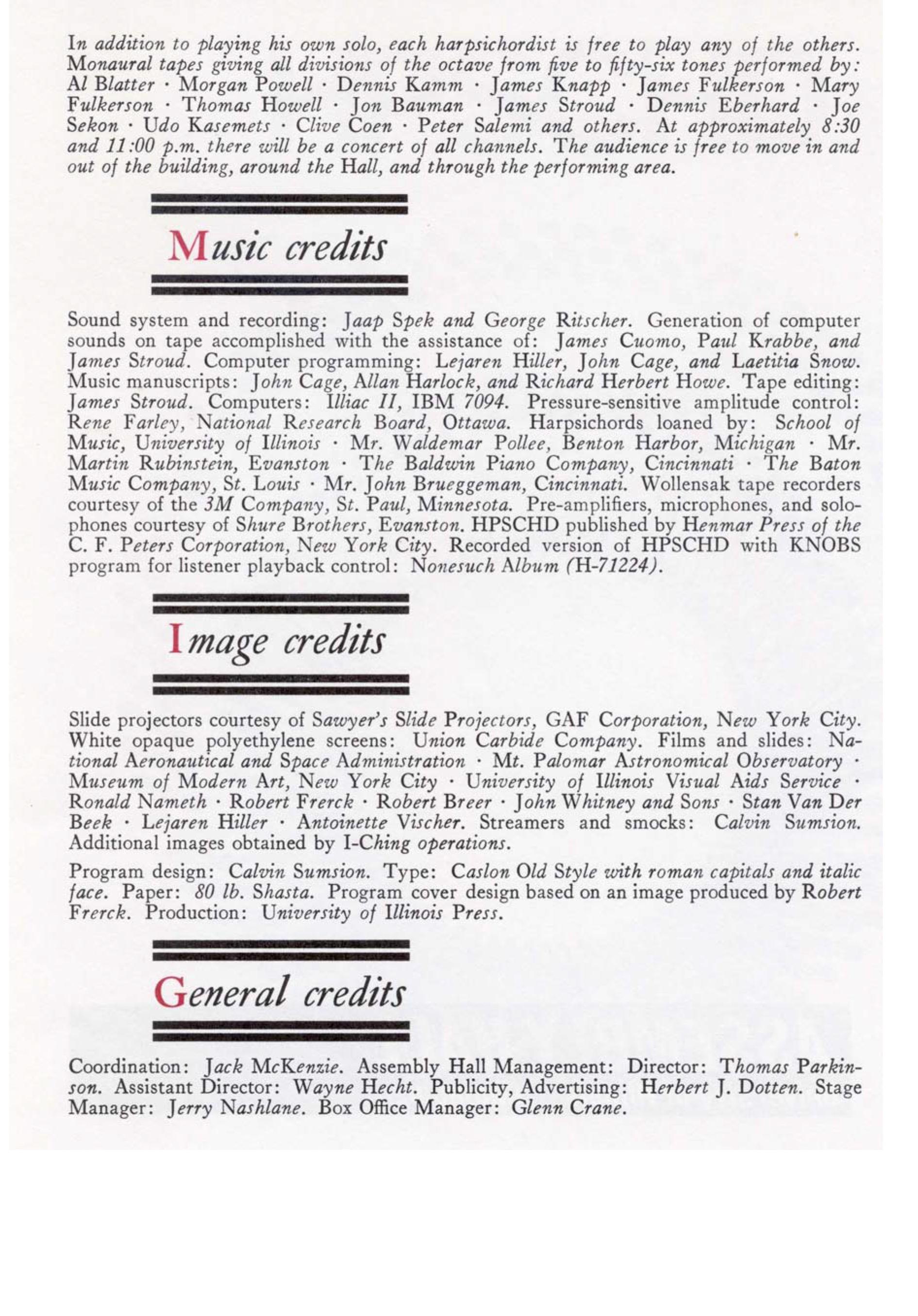 La seconda pagina del programma di sala della prima esecuzione di HPSCHD, datata 16 Maggio 1969.