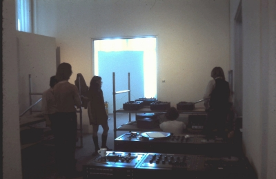 John Cage and Lejaren Hiller HPSCHD - 1971 SUNY Albany performance - back room setup with lots and lots of tape recorders