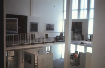 John Cage and Lejaren Hiller HPSCHD - 1971 Suny Albany performance - overview of Art Gallery during setup
